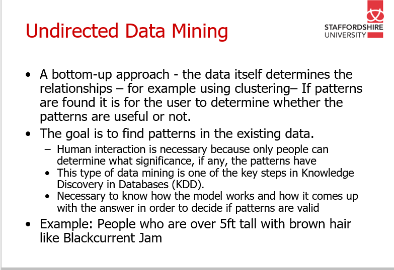 What is data mining? (Directed VS Undirected Data Mining